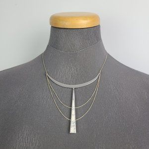Stella & Dot Silver Tone Faux Marble Necklace